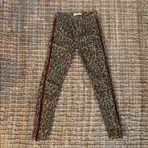 ZARA Leopard Skinnies with Rust Velvet Trim